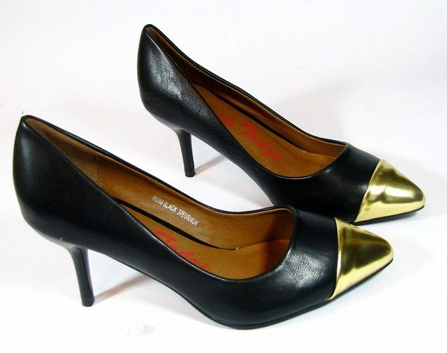 party pumps low heels black gold pointed stiletto. Black Bedroom Furniture Sets. Home Design Ideas