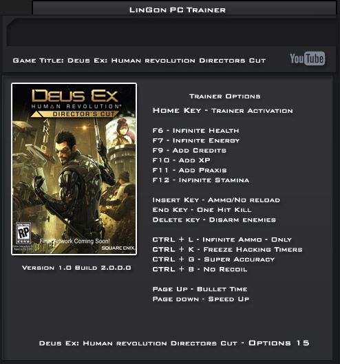 Deus Ex: Human Revolution Director's Cut trainer