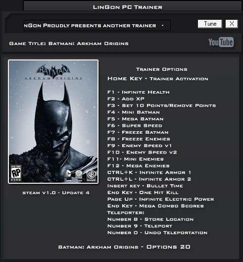 Batman: Arkham Origins trainer
