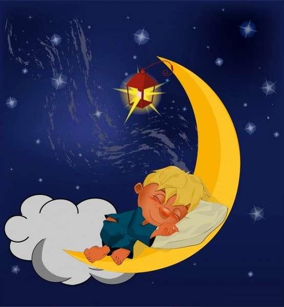 Fondo infantil ni o durmiendo en la luna - Dibujos de lunas infantiles ...